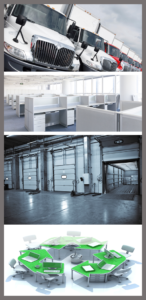 Office Mover Furniture Warehouse Assets Disposition Verticle Photo Montage